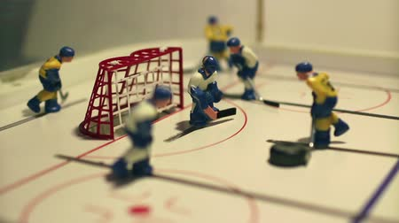 playoff : attack  hockey match, table game macro shot Stock Footage