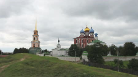 low dramatic sky above an ancient Russian monastery time lapse Stock mozgókép