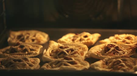 golden time : Pies flaky pastry, inside oven, baking tray Baked