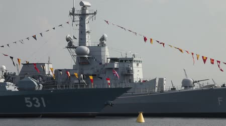 August 24, 2014 :- St. Petersburg, Russia Warships in the harbor.