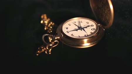 history : Antique Gold Pocket Watch close to camera motion