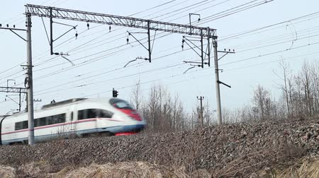 mozdony : Russian Railways high-speed passenger train in motion