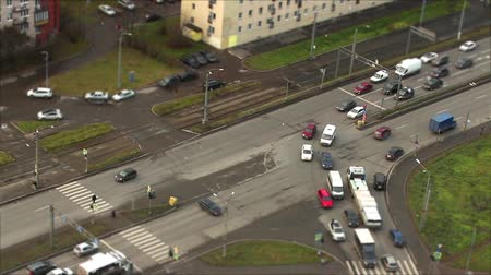 tilt shift : Traffic at the intersection, top view, time lapse Stock Footage