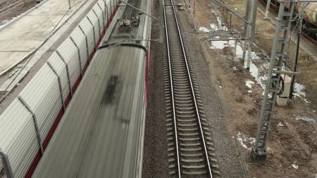catenary : Passenger electric train view from above Stock Footage