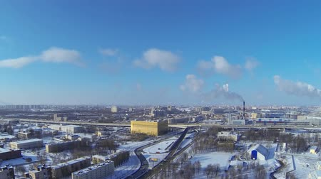 St. Petersburg winter, aerial view time lapse