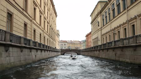 Travel to St.Petersburg Petersburg canals and embankments view of from the boat Stock mozgókép