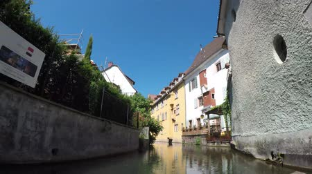 picturesque quarters : Time Lapse. Colmar, Alsace, France - Canal boats at Little Venice