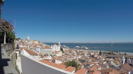 truly : Time Lapse Lisboa, Portugal. viewpoint Largo das Portas do Sol, a balcony opens onto the river offering truly spectacular views over Alfama. Stock Footage