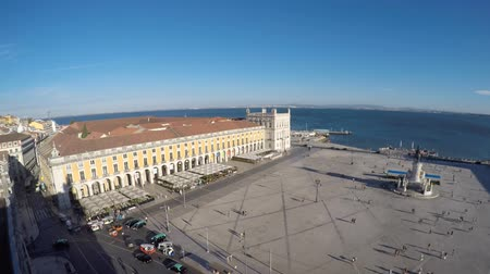 terreiro : Lisbon, Portugal September 10, 2016 City Center, landscape from Rua Augusta triumphal arch on the city and the Commerce Square