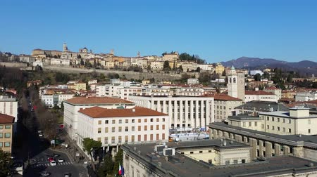 most : Time Lapse Bergamo - Old city (Citta Alta). One of the beautiful city in Italy. Lombardy. Landscape on the old city During a wonderful blue day.