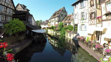 post and beam construction : Colmar, Alsace, France, Medieval old town. Its half-timbered houses and channels. Village called small Venice.