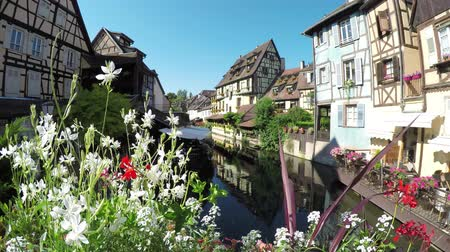 half timbered : Colmar, Alsace, France, Medieval old town. Its half-timbered houses and channels. Village called small Venice.