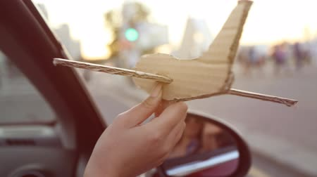 paper airplane : airplane flies in the wind Stock Footage