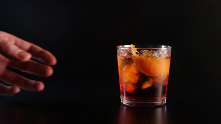 taboo : A hand forbid to take glass with alcohol. Stop drinking alcohol. Stock Footage