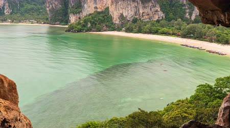 west railay beach and long tail boat traffic on the sea, view from top cave