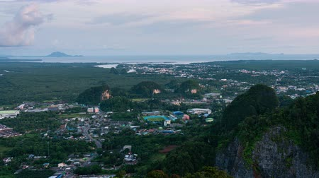 krabi town view from above, sunset and cloudy day in day to night timelapse Dostupné videozáznamy