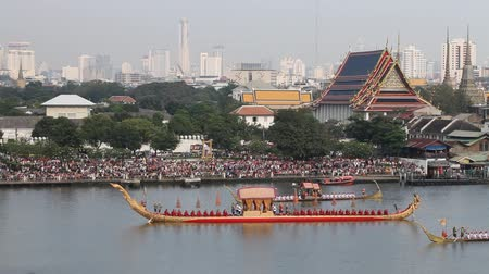 BANGKOK, THAILAND - NOV 6: Rehearsals of the Thailands Royal Barge Procession on the Chao Phraya river for a royal ceremony marking the end of buddhist lent on November 6, 2012 in Bangkok, Thailand. Stock Footage