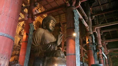 NARA CITY, JAPAN - NOVEMBER 26: The worlds largest bronze statue of the Buddha Vairocana known in Japanese simply as Daibutsu on November 26, 2012 in Nara city, Japan. Stock Footage