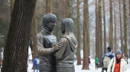 CHUNCHEON, KOREA - DEC 16: The Winter Sonata statue on December 16, 2012 in Namiseom, Chuncheon, South Korea. This Korean tv drama filming primarily took place on the resort island of Namiseom