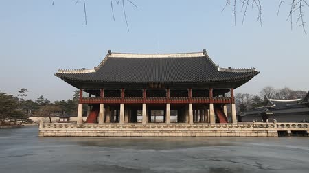 Gyeonghoeru Pavilion, Korean Traditional Architecture in the Gyeongbokgung Palace, Seoul, South Korea. Stock Footage