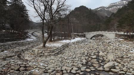 ulsan : Korean styled wooden bridge in Seoraksan National park, Gangwon province, South Korea.