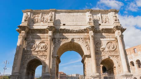 constantine : Triumphal Arch of Constantine in Rome front of Colosseum, Most famous places in Time Lapse