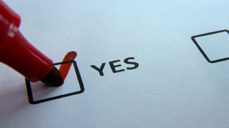 questionário : Checkbox Yes and No, write in red marker answer Yes close up