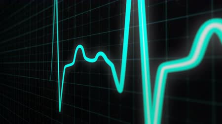 ekg : Heartbeat line, graph of heart rhythm on medical screen with grid. ECG, EKG, electrocardiogram heartthrob, cyan line with white core in close-up. Seamlessly loop animation Wideo