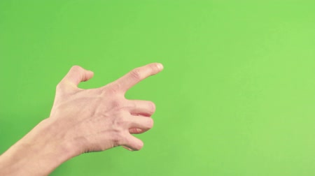 spite : Hand isolated on green background. Human hand gesture isolated on green screen. Man hand on chroma key background pointing. Person wrist isolated in green studion