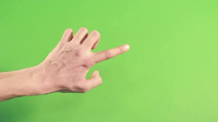 spite : Isolated hand on green screen. Man hand on background. Forefinger pointing in studio on chroma key. Left hand on green background making gesture