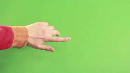 spite : Hand on green screen isolated. Hand make gesture on green background. Man hand in studio on chroma key background. Person finger on left hand pointing.