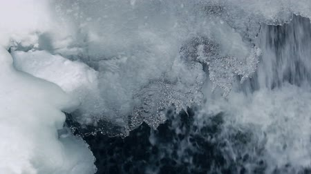 icefall : Ice crystals in winter. Closeup. Ice background. Icicles with water drops. Close up of ice and flowing water. Transparent ice crystals. Winter scene. Frozen waterfall. Icy waterfall. Closeup Stock Footage