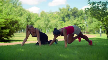 toló : Young women rest after push ups exercise outdoor. Fitness women doing push up exercise. Two women doing pushups exercise in park. Women pushing on green grass. GIrlfriends workout outdoor Stock mozgókép