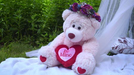 soft : Pink bear with flowers decoration. White bear toy. Teddy bear on decorative pillows. Decorations for wedding photo session in park at summer