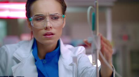gondolkodás : Female researcher preparing for lab research. Closeup of laboratory researcher working. Lab researcher in research laboratory. Science woman prepare for experiment. Lab worker face