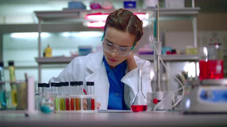 przychodnia : Woman researcher working in lab. Female researcher writing research report in modern laboratory. Woman scientist writing data report in research laboratory. Scientist woman working in chemical lab Wideo