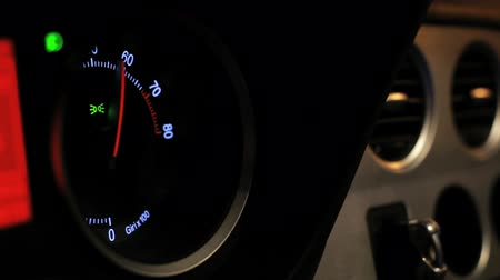 rpm : Car tachometer speed. Engine rpm meter. Auto tachometer arrow revving, Tachometer revving. Close up of tachometer display. Rmp gauge Stock Footage