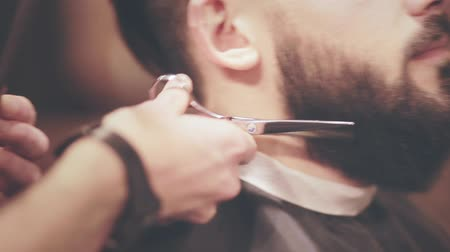 gondos : Male beard cut. Hairdresser cut beard man. Hairdresser careful cutting scissors beard in barbershop. Closeup of facial hair cut in hair salon. Beard grooming