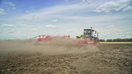 seeding : Process plowing farming field. Farming tractor plowing agricultural field. Agriculture machinery plow field