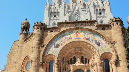 Panoramic view historic building Cathedral Holy Heart in Barcelona city. Barcelona architecture. Religious building Cathedral Holy Heart in Spain