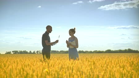agronomist : Agro farmer analyzing wheat ears with female agronomist. Agricultural scientist working in harvest field. Agriculture research. Man and woman with documents in wheat field