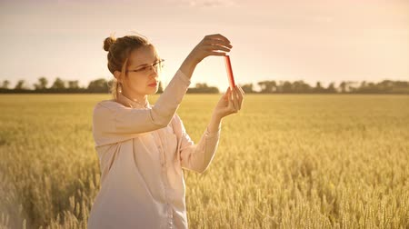 agronomist : Female scientist doing biological research. Agro scientist holding test tube with pink liquid. Agriculture and science concept