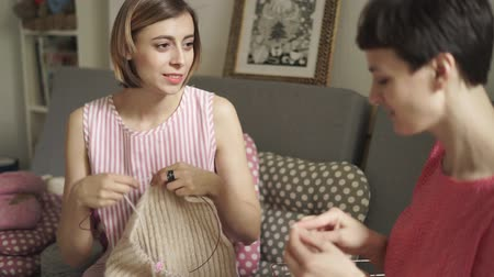 сплетни : Funny friends woman knitting wool sitting on couch in room. Two girl friends talking and knitting needles yarn