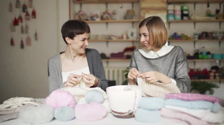 сплетни : Two happy woman friends have fun knitting wool clothes in home studio. Young woman smiling at knitting club in home workshop