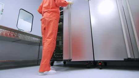 sterility : Factory worker opening refrigerator storage. Woman in orange protective suit using pharmacological factory equipment. Pharmacological factory storage