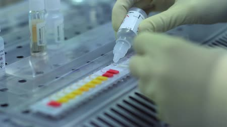 enzyme : Biological research process. Close up of chemist scientist pouring liquid into test samples. Chemical testing panel. Biochemical laboratory research