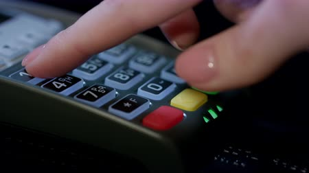 card pin : Credit card machine for money transaction. Woman hand with credit card swipe through pos terminal and enter pin code. Banking services of electronic money. Financial success and safety