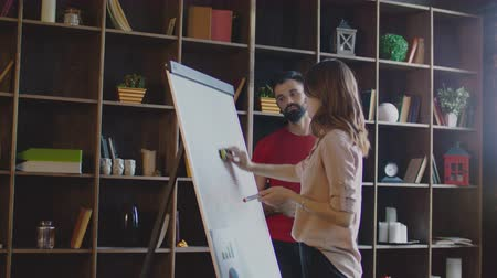 flip chart : Business woman cleaning whiteboard and drawing new diagram on flipchart. Strategic planning meeting. Marketing team thinking marketing campaign on planning board. Business team working in office