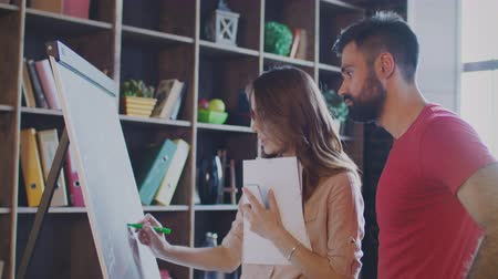 flip chart : Professional woman discussing business strategy with business man in office. Business partners planning company strategy on white board. Office employee working with planning board