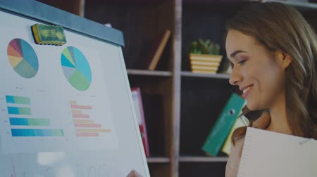 flip chart : Smiling business woman writing business plan on whiteboard in office. Attractive woman writing on marker board. Close up of female employee present company strategy. Smiling woman near flip chart Stock Footage